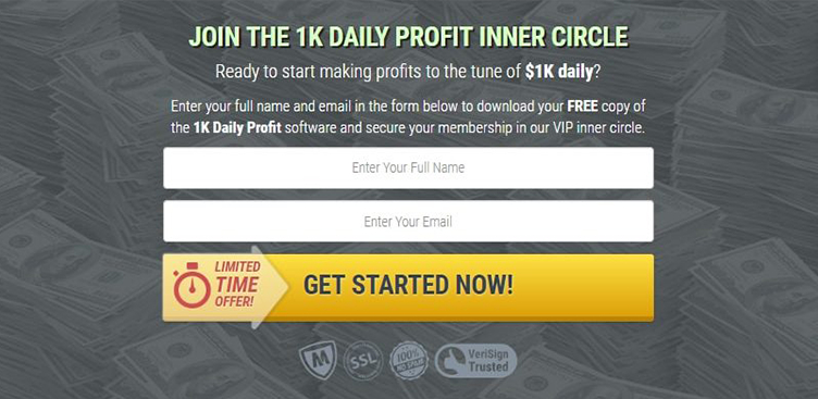 Test dell'account demo di 1K Daily Profit