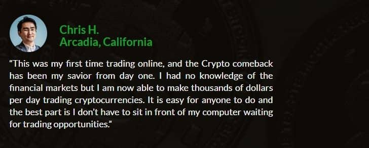 crypto comeback testimonial